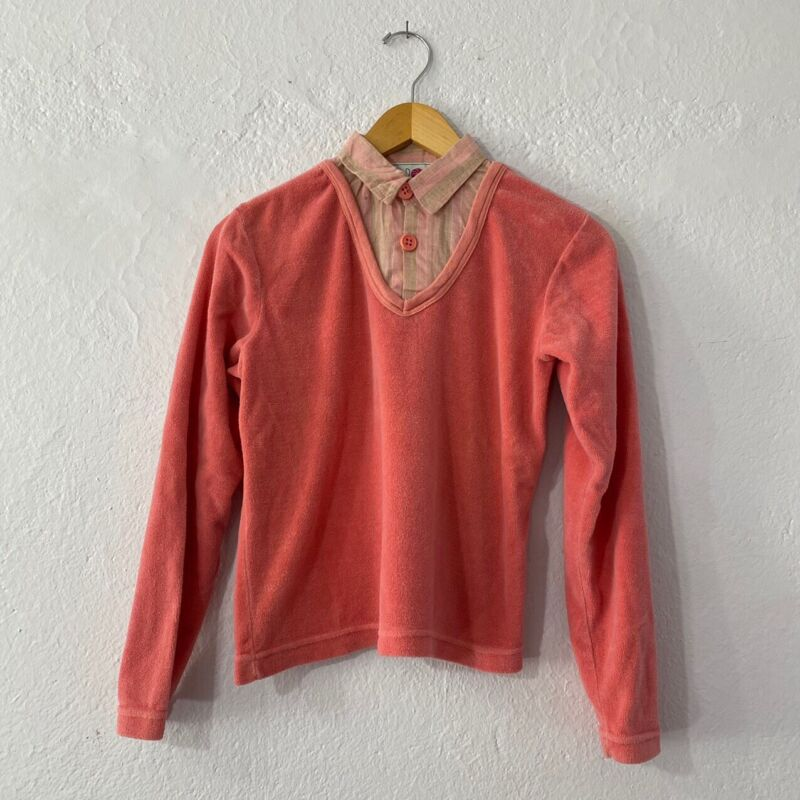 Vintage Huk A Poo Pink Faux Collar Sweater Top Size Small