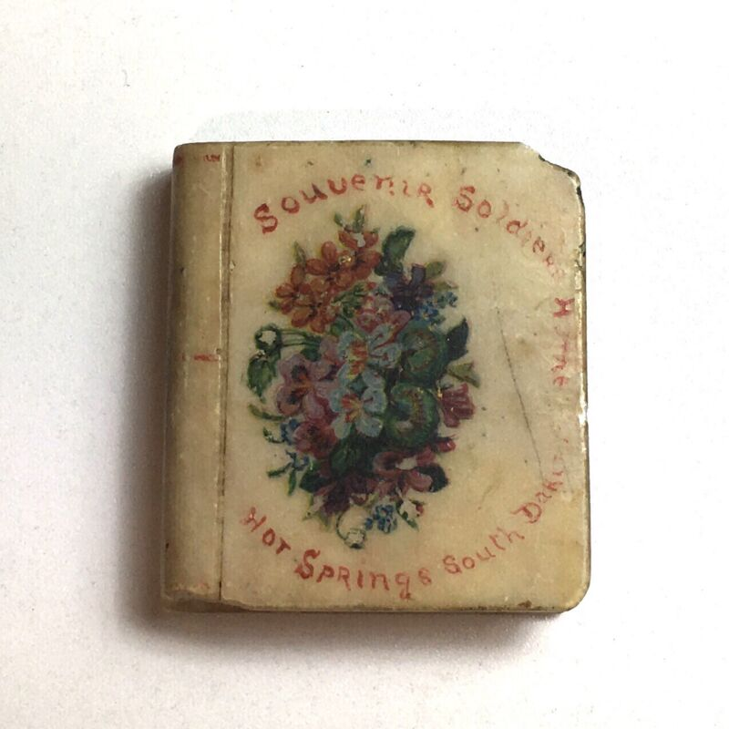 Antique Souvenir Soldiers Home Hot Springs South Dakota Alabaster Paperweight