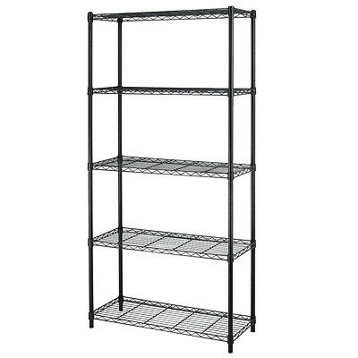 Chrome/Black 5-Shelf Home Office Steel Wire Shelving