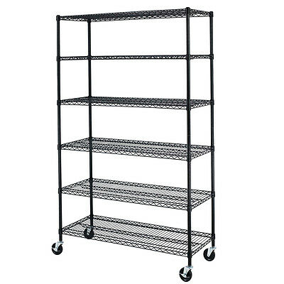 Black/Chrome Commercial 6 Tier Shelf