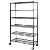 Black/Chrome 6 Tier Adjustable Steel Wire Shelving Rack