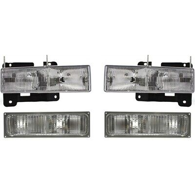 Headlights Pair 4 Pc Set Fits 94-99 Chevrolet Truck Pickup Stock C/K Suburban