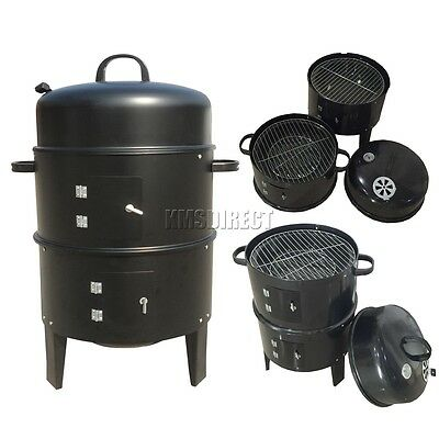 3 Layer Steel BBQ Charcoal Grill Barbecue Smoker Garden Camping Cooking Black