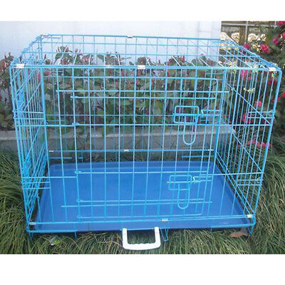 New 42 inch 2 Door Blue Folding Pet cage Dog Crate Cage Pet Kennel LC ABS