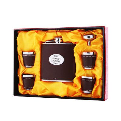 Brown Personalised Engraved 6oz Hip Flask Gift Box Set Wedding Best Man Usher
