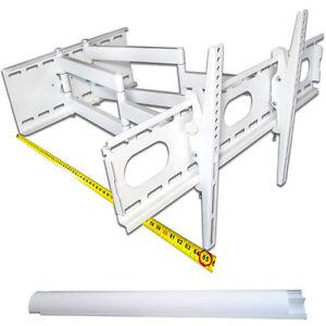 TV-Wandhalterung, weiß, Doppelarm, schwenkbar, für schwere TV bis 70 Zoll, 70 kg