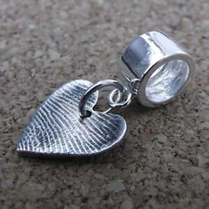 Fingerprint Jewellery - Small Silver Heart Charm With Carrier Bead