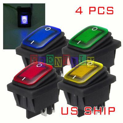 4X K2 MIX LED 4Pin Waterproof 12V 20A Bar Rocker Toggle Switch LED Light Car