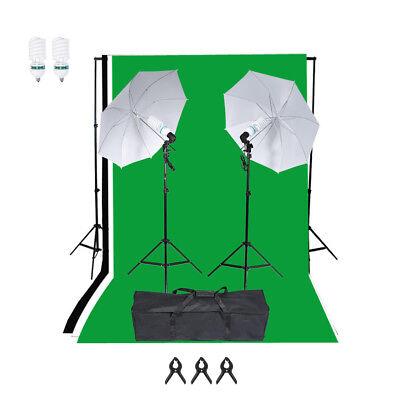 Image of 1250W Photo Studio Background Lighting Set Umbrella Backdrop Stand Bulb Kit
