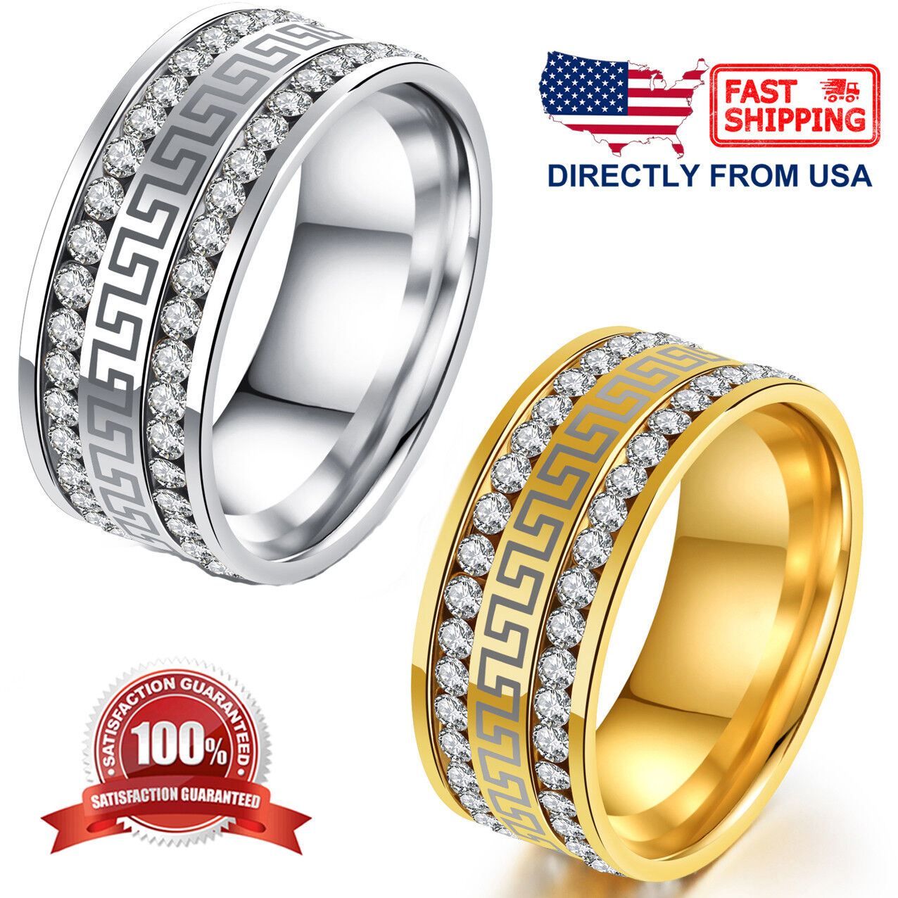 Stainless Steel Greek Key Cubic Zirconia Comfort Fit Wedding Band Unisex Ring Jewelry & Watches