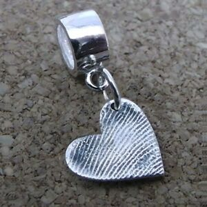Fingerprint Jewellery - Smal Silver Heart Charm With Carrier Bead - Gift For Her