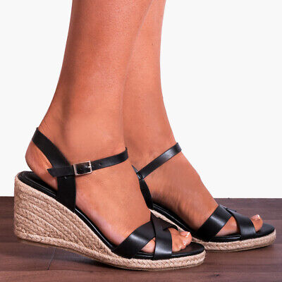 BLACK METALLIC WEDGED CANVAS WEDGES CRISS CROSS ANKLE STRAP STRAPPY SANDALS SIZE - Criss Cross Wedge
