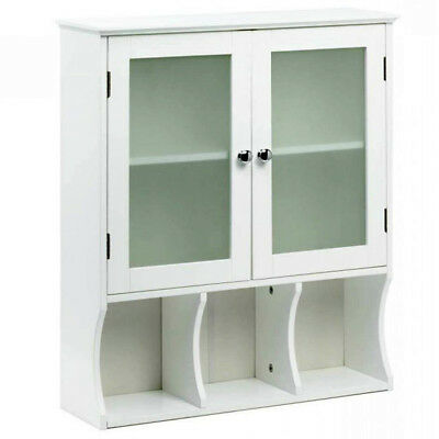 Wood Wall Cabinet White Medicine Office Shelves Frosted Glass Kitchen Bathroom ()