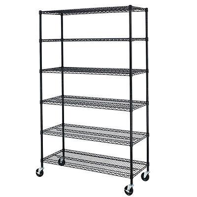 Black 72x48x18 Wire Metal Shelving Rack 6 Tier Adjustable Commercial Shelf 86