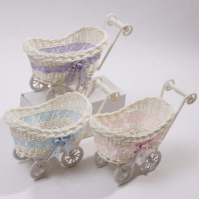BABY PRAM SMALL WICKER BASKET BABY SHOWER PARTY GIFTS XMAS PRESENT