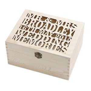 Laser Cut Personalised Wooden Wedding Memory Keepsake Storage Box Chest Gift