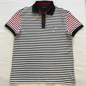 mens Nautica stripped polo shirt size M