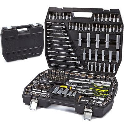 Juego de herramientas maletin 218 pzs carraca 1/4 1/2 3/8 llaves vasos...