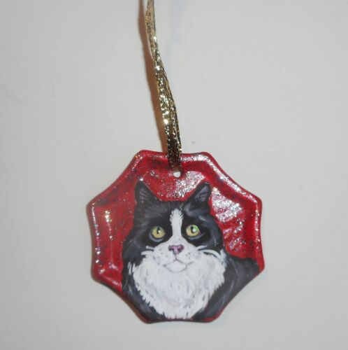 Tuxedo Cat Christmas Ornament Decoration Hand Painted Ceramic