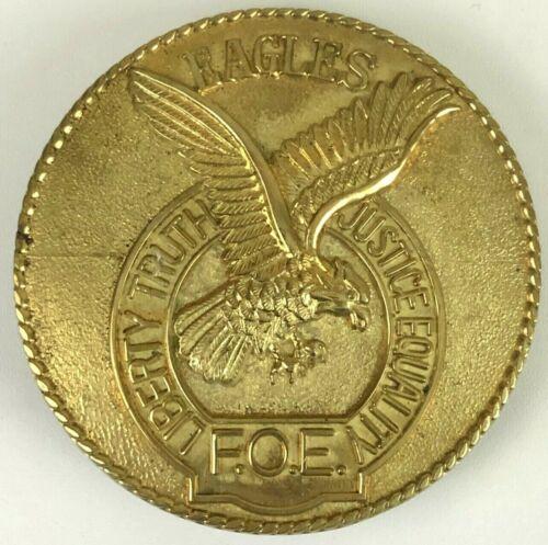 Fraternal Order of Eagles FOE Vintage Brass Belt Buckle Liberty Truth Justice