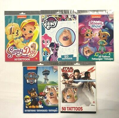 50 Temporary Tattoos Star Wars My Little Pony Shimmer Shine Paw Patrol Sunny Day