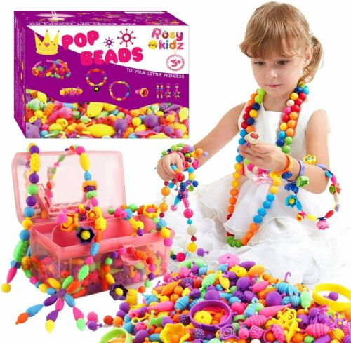 Rosykidz Snap Pop Beads Set, 600 Pcs Jewelry Making Kit + Rhinestones Stickers