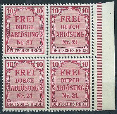 4 Im Rand (Dienst MiNr. 4 im Viererblock vom rechten Seitenrand postfrisch)