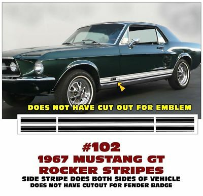 GE-102 1967 FORD MUSTANG GT - LOWER ROCKER SIDE STRIPE KIT - DOES BOTH (Mustang Gt Stripe Kit)