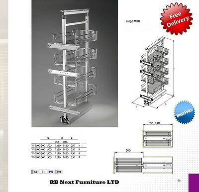 400mm Pull out larder with chrome plate and chrome baskets soft / self close 400 Mm Basket