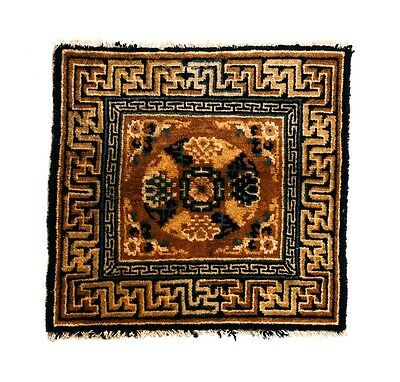 Antique Chinese Wool Mat, 19th Century. Gold & Blue Medallion Key Border