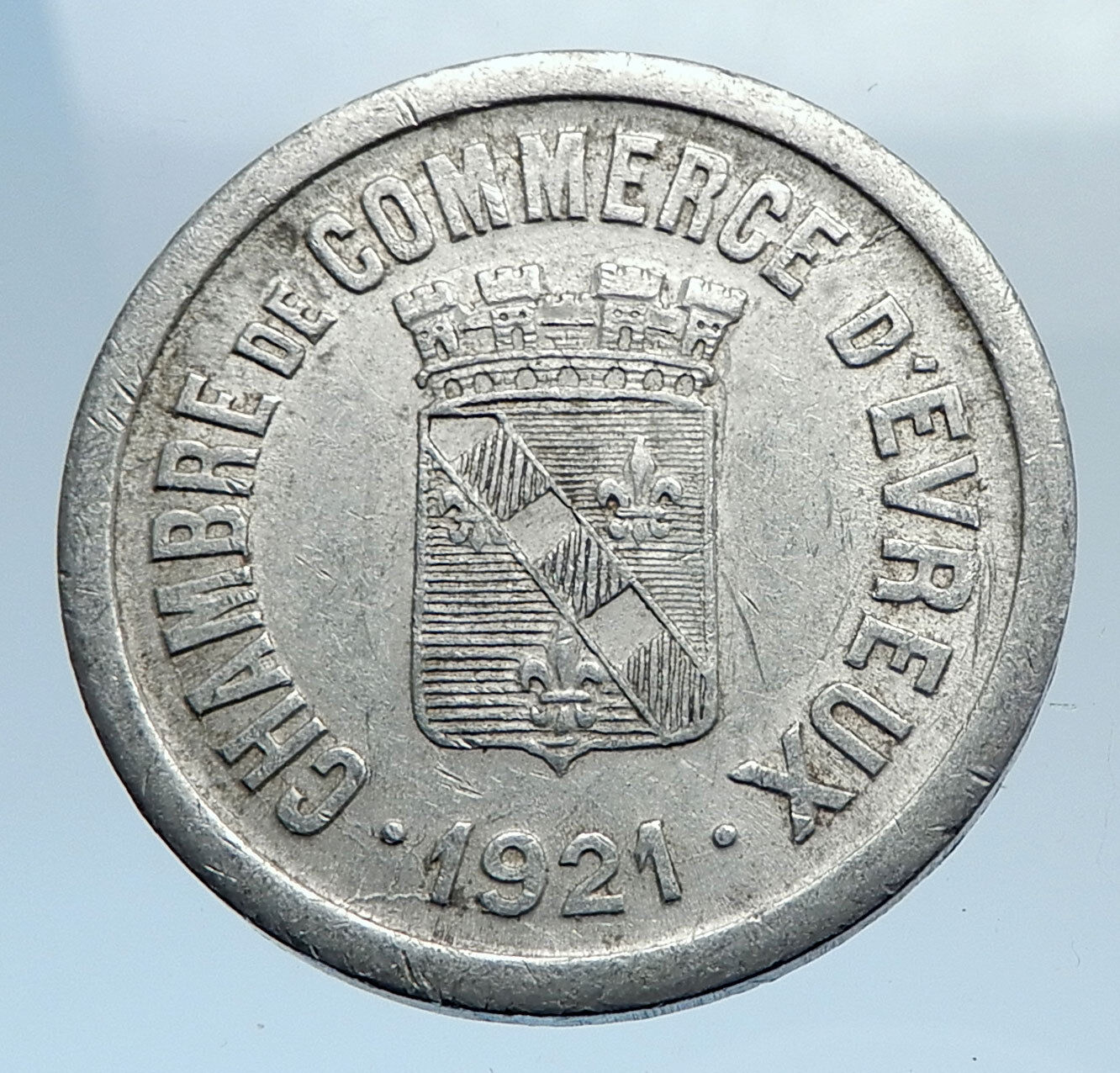 1921 FRANCE EVREUX AFTER WWI ALUMINUM 25 CENTIMES TRADE TOKEN FRENCH COIN I74167