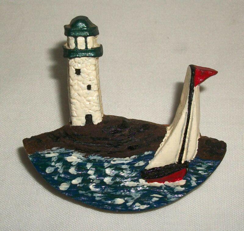 Vintage Neal Boy Scouts Neckerchief Slide Lighthouse Sailboat BSA