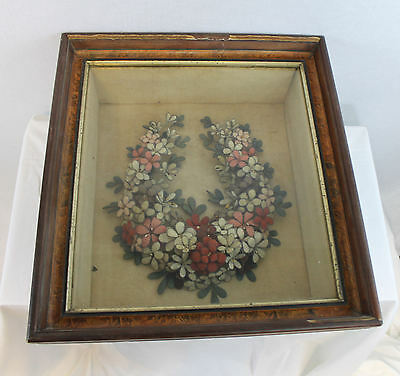 Victorian Folk Art – Mourning Wreath hand made of wool flowers