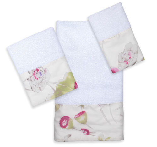 3-Piece Bathroom Pool, Hand, Wash Towel Set Popular Bath Flower Haven Collection Bath