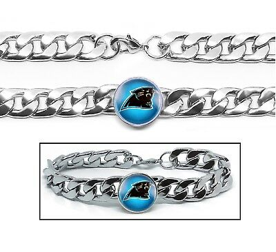 Carolina Panthers Gifts (Carolina Panthers Stainless Wide 12mm Womens Mens Link Chain Bracelet Gift)