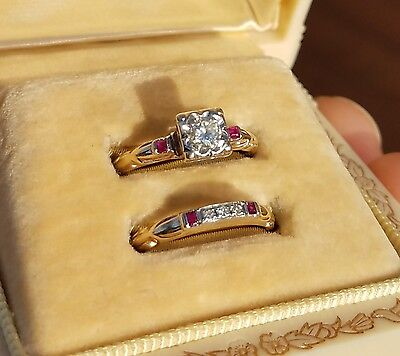 Vintage Estate Diamond & Ruby Wedding Ring Set 14k Rose Gold engagement and band