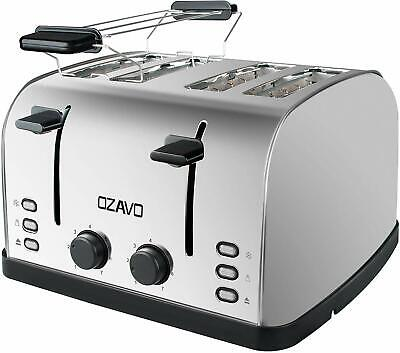 OZAVO Grille-pain 4 fentes, Toaster Multifonctions Extra Larges Acier Inoxydable