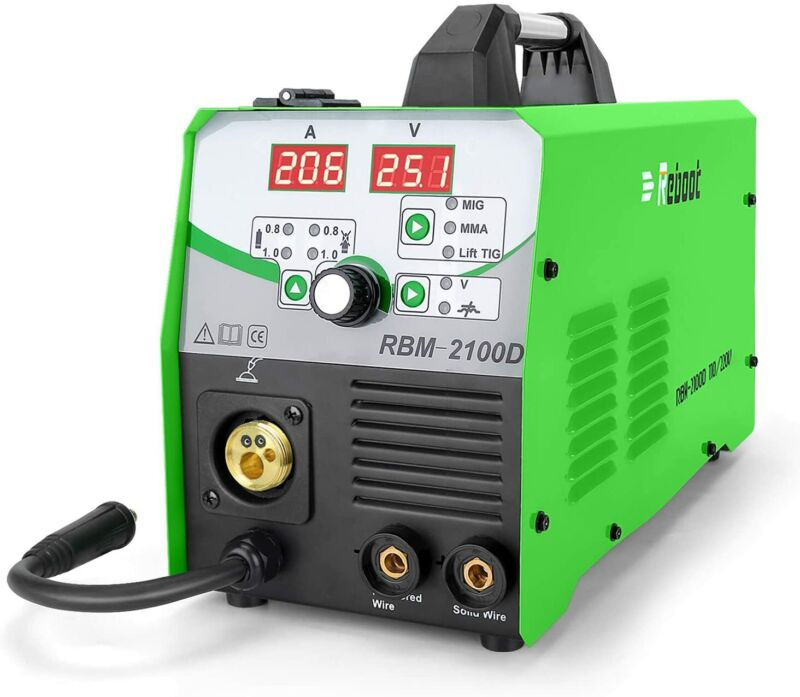 MIG Welder 180A Gas and Gasless MIG/Stick/Lift TIG Welder 4 in 1 Flux Core IGBT