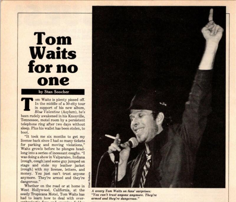 "1979 VINTAGE 1PG SHORT MAGAZINE ARTICLE/CLIPPING OF ""TOM WAITS FOR NO ONE"""