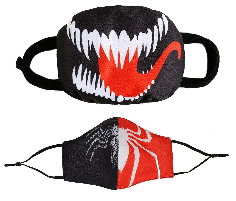 2 pcs Comic Venom VS Spider Man Anime Cotton Masks Half Face Fashion Mouth Cover Accessories