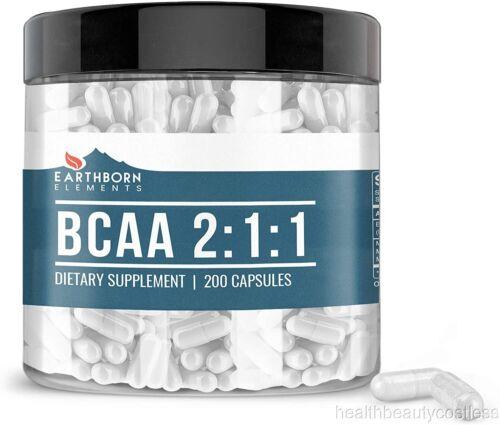 BCAA 200 Capsules 1200mg Serving, 2:1:1 Ratio, Naturally Sourced No Magnesium