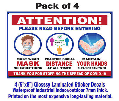 Social Distancing Door Window Sticker Decal Sign Must Wear Mask Entering - 8x5 4