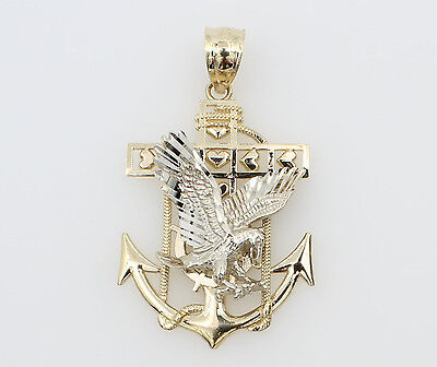 14K Solid Real Yellow White 2 Two Tone Gold Eagle Anchor Charm Pendant
