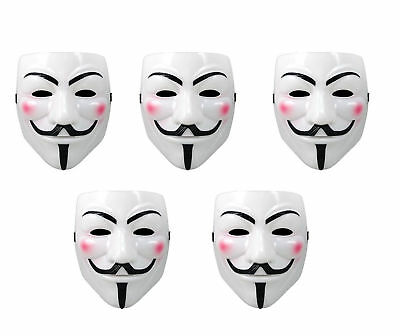 Purge Mask For Halloween (5pk White Anonymous Fawkes Mask V for Vendetta Purge Halloween)