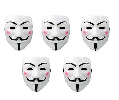 White Anonymous Face Mask V for Vendetta Costume Purge Mask Halloween Prop LOT - Halloween Mask Vendetta