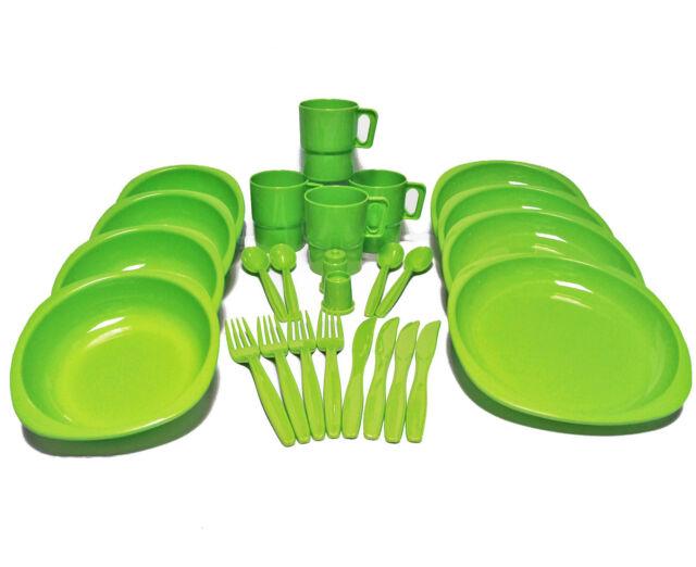26 Pcs Plastic Picnic/C&ing/BBQ/Party Dinner Plate Bowl Mug Cutlery Set  sc 1 st  eBay & 26 Piece Plastic Shatterproof Beach Food Cutlery Cup Plates Bag ...