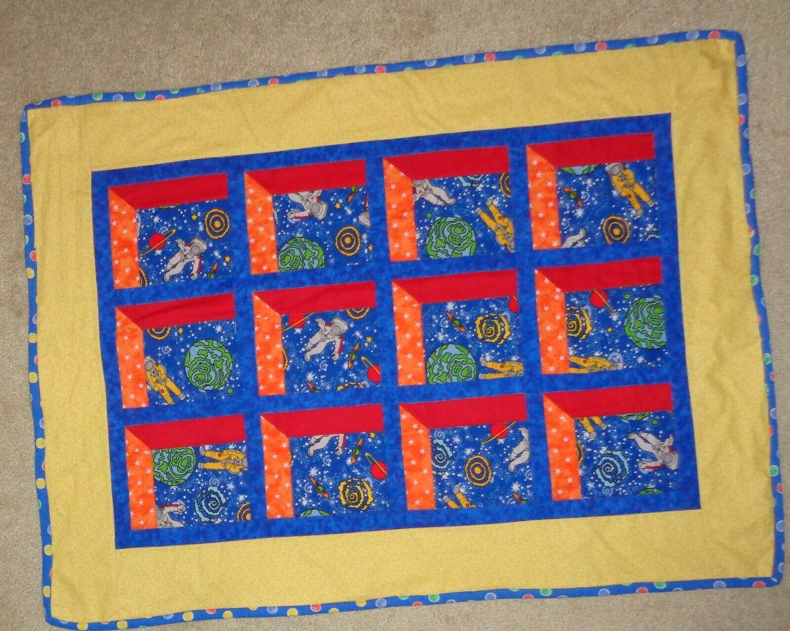 Baby Toddler Quilt Colorful Outer Space Astronauts Handmade NEW 42 X 31  - $24.99