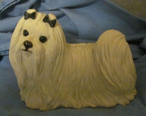 Orig Sandicast Fireside Maltese Dog Large Size Sandra Brue 1987