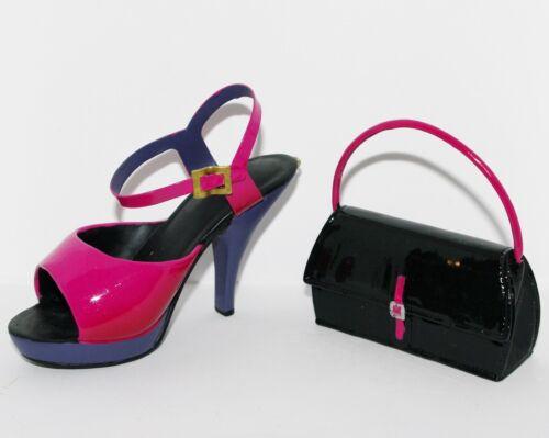 JC Penney FUNKY SANDAL Hot Pink Patent Leather HIGH HEEL SHOE  HANDBAG Ornaments