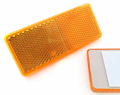 2x Self-Adhesive Amber / Orange Oblong Rectangular Trailer Reflectors 90x40mm